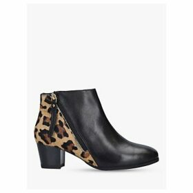 Carvela Rachel Leopard Print Panel Leather Ankle Boots, Black/Multi