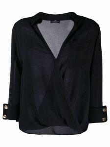 Elisabetta Franchi wrap style V-neck blouse - Black
