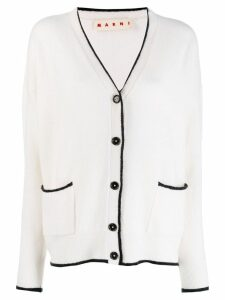 Marni contrast piping detailed cardigan - White