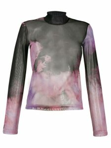 Ssheena tie-dye sheer top - Black