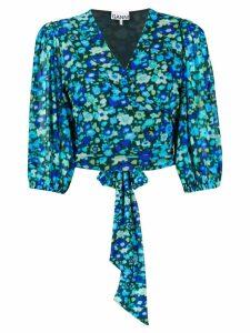 GANNI floral-print wrap blouse - Blue