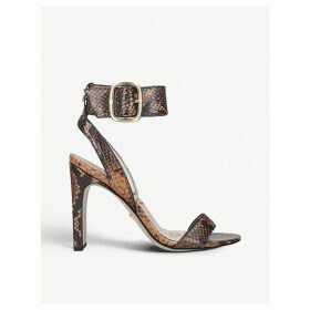 Yola snake-embossed leather heeled sandals