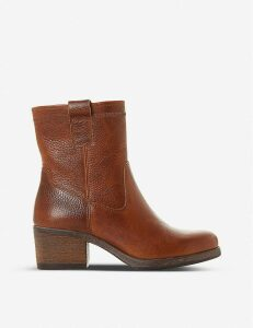 Pacer block heel leather ankle boots