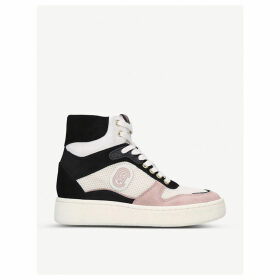C220 high-top suede and mesh trainers