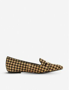 Graced saddle-trim houndstooth leather loafers