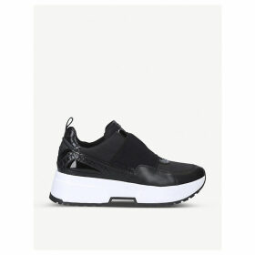 Cosmo faux leather-trimmed woven trainers