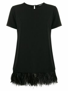 P.A.R.O.S.H. short-sleeved feather hem top - Black