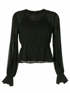 CK Calvin Klein pleated long-sleeve blouse - Black