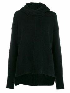 Isabel Benenato raised seam knit hoodie - Black