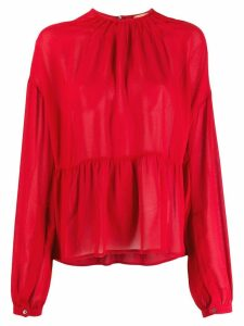 Nº21 scalloped long sleeves blouse - Red