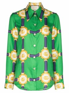 Gucci GG harness print shirt - Green
