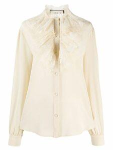 Gucci lace ruffle bib blouse - NEUTRALS