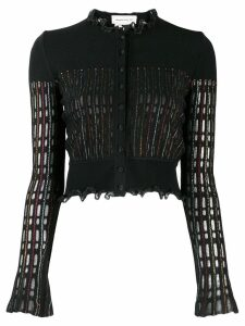 Alexander McQueen metallic-knit cropped cardigan - Black