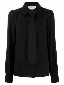 Gucci neck tie blouse - Black