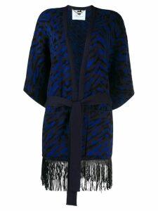 Blumarine fringed belted cardigan - Blue