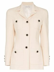 Alessandra Rich crystal button-embellished blazer - NEUTRALS