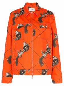 Kirin Guns print zipped jacket - ORANGE