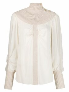 Chloé turtleneck dual-fabric jumper - White