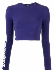 Dsquared2 logo print cropped top - Blue