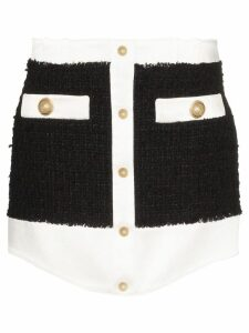 Balmain tweed buttoned mini skirt - Black