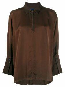 Ilaria Nistri cropped sleeve shirt - Brown