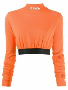 Heron Preston turtle neck crop top - ORANGE