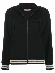 Twin-Set stripe detail zipped hoodie - Black