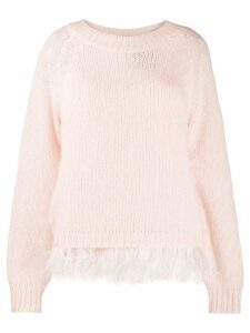 Twin-Set feather trim jumper - PINK