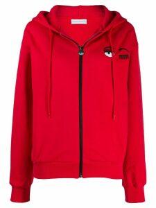 Chiara Ferragni zipped eyelash hoodie - Red