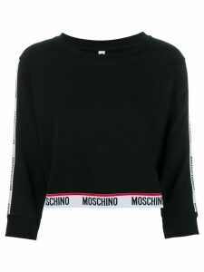 Moschino logo trim sweatshirt - Black