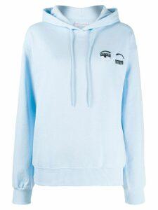 Chiara Ferragni eye lash hoodie - Blue