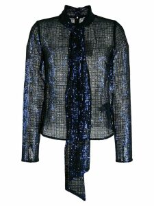 Self-Portrait check sequin blouse - Blue