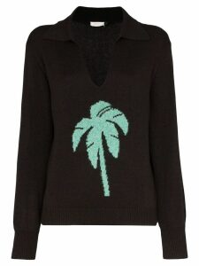 Rixo palm tree intarsia knit jumper - Black