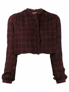Kristina Ti cropped check shirt - Red
