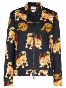 Kirin Haetae-print denim jacket - Black