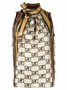 Alberta Ferretti tie-neck monogram blouse - NEUTRALS