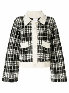 Barrie check embroidered cardigan - Black