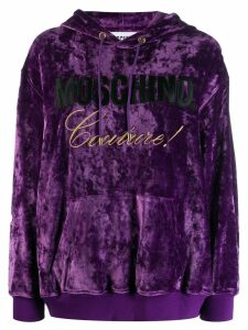 Moschino velvet logo hoodie - Purple