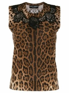 Dolce & Gabbana leopard print laced top - Brown