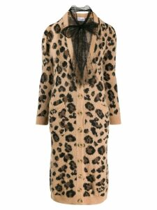 Red Valentino leopard-print long cardigan - Neutrals