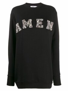 Amen long embellished sweater - Black