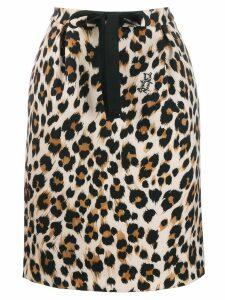 Moschino leopard print drawstring skirt - NEUTRALS