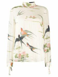 Red Valentino bird print blouse - NEUTRALS