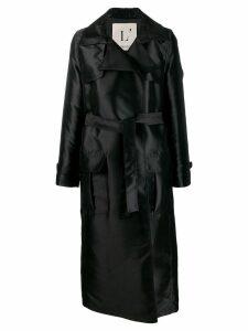 L'Autre Chose long belted trench coat - Black