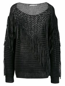 Stella McCartney fringed knit mix sweater - Black