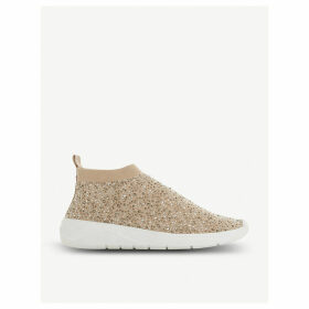 Emerald diamante-embellished sock-fit trainers