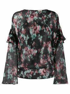 L'Autre Chose silk floral blouse - Black