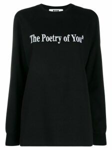 MSGM embroidered slogan sweatshirt - Black