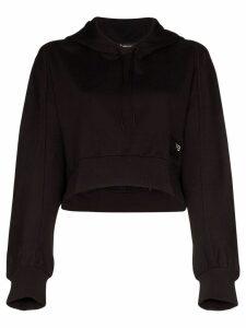 Y-3 logo crop cotton hoodie - Black