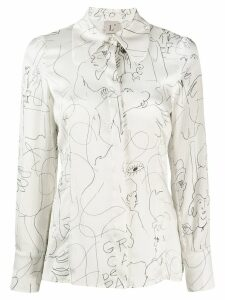 L'Autre Chose graphic printed silk blouse - White